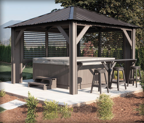 Visscher pavillons de jardin gaz bos enki for Club piscine liquidation gazebo
